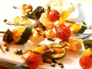 Marinated Vegetable and Feta Skewers recipe
