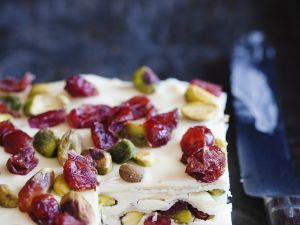 Marzipan Cranberry Cake with Pistachios recipe