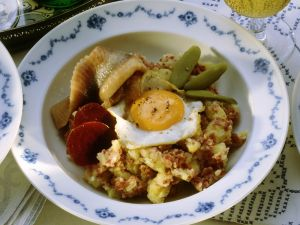 Mashed Beef and Potato with Fried Egg and Herring recipe