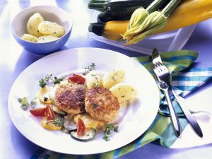 Meat Patties with Parslied Potatoes and Vegetables recipe