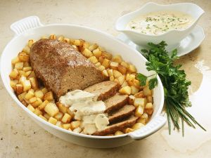 Meatloaf with Potatoes and Mushroom Sauce recipe