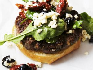 Mediterranean Lamb Burger with Feta Cheese, Sun Dried Tomatoes and Olives recipe