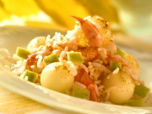 Melon and Prawn Rice Salad recipe