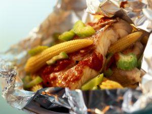 Mexican Red Snappers with Vegetables Baked in Foil recipe