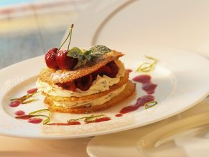 Mille-feuille with Cherries and Buttermilk Mousse recipe