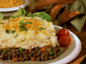 Minced Meat and Vegetable Pie with Cheesy Mash Topping recipe