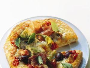 Mini Pizzas with Prosciutto and Artichoke recipe