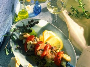 Monkfish Skewers with Lemon and Mint Marinade recipe