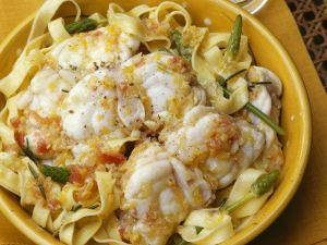 Monkfish with Wild Asparagus and Tagliatelle recipe