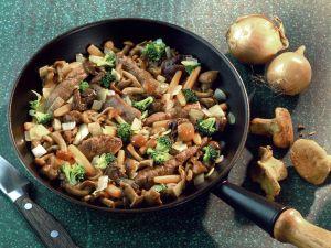 Mushroom Pan with Lamb Fillet recipe