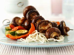 Mushrooms Skewers with Grilled Veggies recipe