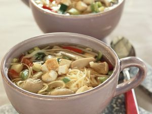 Noodle and Tofu Soup with Oyster Mushrooms recipe