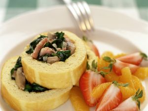 Omelet Rolls with Bacon and Spinach recipe