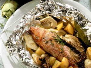 Packets of Baked Red Mullet with Vegetables recipe