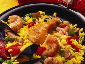 Paella with Assorted Meats, Spicy Sausage and Seafood recipe