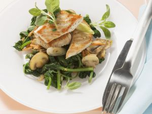 Pan-Seared Turkey Cutlets with Spinach and Mushrooms recipe