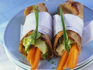 Pancake Wraps with Carrots and Chive Spread recipe