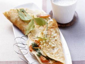 Pancakes with Vegetables and Creamy Herb Sauce recipe