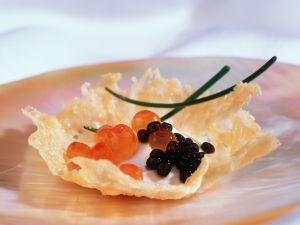 Parmesan Baskets with Caviar and Sour Cream recipe