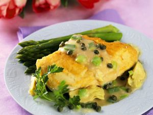Parmesan Crusted Chicken Breast with Asparagus and Artichoke Heart Sauce recipe