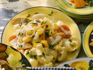 Pasta Salad with Hot Dogs, Cheese and Vegetables recipe