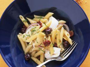 Pasta Salad with Olives, Artichokes and Buffalo Mozzarella recipe