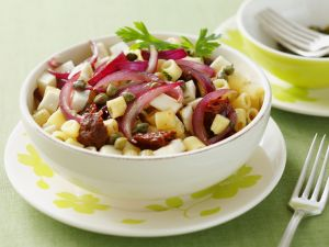 Pasta with Glazed Onions, Sun-Dried Tomatoes, Olives and Feta Cheese recipe