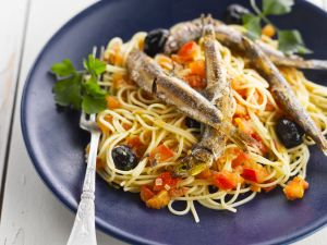 Pasta with Olives and Anchovies recipe