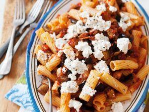 Pasta with Tomato, Eggplant and Feta Cheese recipe
