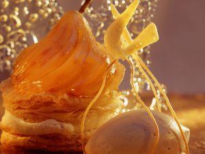 Pear Millefeuille with Caramel Ice Cream recipe