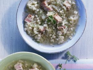 Pearled Grain and Ham Broth recipe