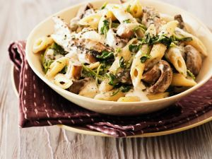 Penne with Mushroom Cream Sauce recipe