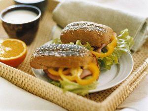 Pepper and Ham Mini Baguette Sandwiches recipe