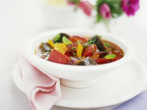 Pepper Soup with Eggplants and Thyme recipe