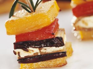 Peppers and Eggplant with Feta Cheese on Rosemary Skewers recipe