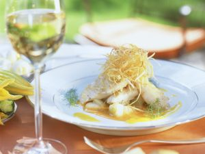 Perch Fillet with Ginger, Cucumber and Cabbage recipe