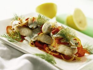 Perch Gratin with Peppers, Apples and Dill recipe