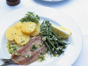 Pickled Herring with Bean Salad and Potatoes recipe