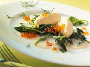 Pike Dumplings with Cream Sauce and Spinach recipe