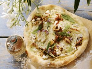 Pizza with Fennel, Goat Cheese, Sun-dried Tomatoes and Walnuts recipe
