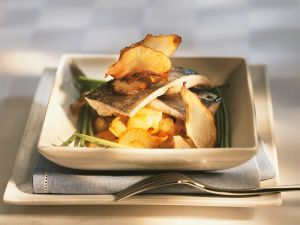 Poached Char with Vegetable Crisps recipe