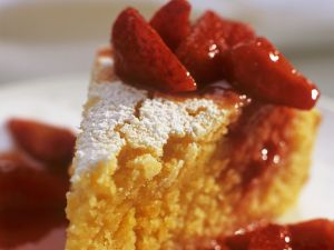 Polenta Cake with Marinated Strawberries recipe
