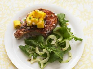Pork Chops with Fruity Salsa and Green Salad recipe