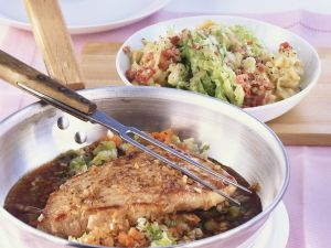 Pork Schnitzel and Spaetzle with Savoy Cabbage recipe