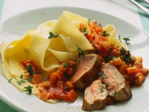 Pork with Pappardelle and Vegetables recipe
