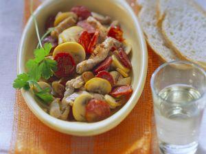 Pork with Sausage and Mushrooms recipe