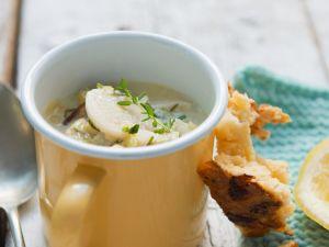 Potato and Celery Soup with Smoked Fish recipe