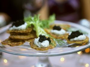 Potato Pancakes with Caviar and Dill Cream recipe