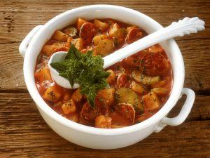 Potato Pancetta Stew with Salami recipe