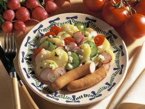 Potato Salad with Radishes, Cucumbers and Vienna Sausages recipe